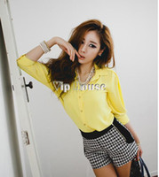 Wholesale Korea Chiffon Shirt Fashion Women - Wholesale-Fashion Chiffon Shirt Blouse 2015 New Big size Women Spring Clothes Korea 3 4 Sleeve Lapel Collar Button Down Tops 3color 13831