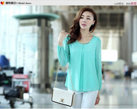 Wholesale Womens Career Shirt Xl - Wholesale-Womens Sexy Tops Long Sleeve Casual Chiffon Pleated Shirt Career Blouse