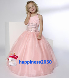 $enCountryForm.capitalKeyWord Australia - Lovely Pink Organza One-Shoulder Beads Flower Girl Dress Holidays Skirt Birthday Dresses Pageant Dresses Custom Size 2 4 6 8 10 12 F1218086