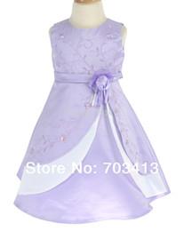 Wholesale Infant S Dresses - Wholesale-L6339B free shipping lilac & white satin christening pageant infant girl dress S M L XL