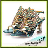 Wholesale Colorful High Heels - Wholesale-Plus Size 34-43 Sheepskin Sandals Ladies High Heel Sandals Colorful Peacock Women Rhinestone Shoes Bridal Shoes Wedding