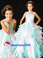 Lovely Green Pink Organza One- Shoulder Beads Flower Girl Dre...