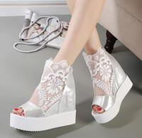 Wholesale White Silver Colors Platform - Wholesale-Newest white silver sexy lace platform wedge heels dress shoes wedding shoes peep toe women shoes 2 colors size 34 to 39