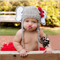 Wholesale Elephant Crochet Hats - Wholesale-WD0040, Baby elephant style handmade Baby Crochet Animal Hats Beanies Infant Knit Cap Funny Winter Hats Minnie Elephant Design