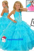 Wholesale Lovely Turquoise Halter Layer Flower Girl Dresses Girl s Skirt Wedding Pageant Dresses SZ
