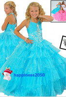 Lovely Turquoise Organza Halter Beads Layer Flower Girl Dres...
