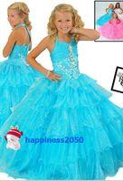 Lovely Turquoise Organza Halter Beads Layer Flower Girl Dres...
