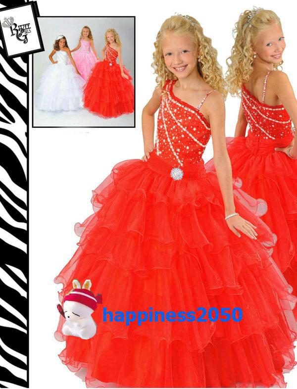 Lovely Red Pink White Organza Beads Flower Girl Dress Girl ...
