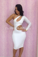 Wholesale Hot Sexy Chest - Wholesale-HOT New 2015 Bandage Dress Chest Hollow OuT One-Shoulder Bodycon Dress Tight Package Hip Soild 2 Color Women Sexy Dresses