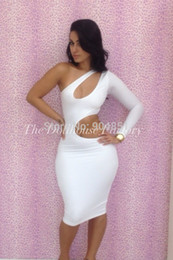 $enCountryForm.capitalKeyWord NZ - Wholesale-HOT New 2015 Bandage Dress Chest Hollow OuT One-Shoulder Bodycon Dress Tight Package Hip Soild 2 Color Women Sexy Dresses