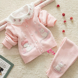 Wholesale Newborn Cardigans - Wholesale- Newborn baby sweater set 100% cotton jersey sweaters clothing set kids sweater snowily sets toddler clothing Snow man