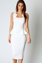 7565561a2d Al por mayor-vestido de festa Nuevo 2015 vestido de verano Sexy Abi cuello  detalle sin mangas Midi Dress en (azul negro blanco rojo) LC6150