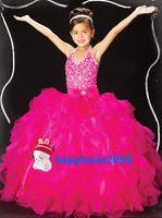 Lovely Fushcia Organza Halter Beads Flower Girl Dress Holida...