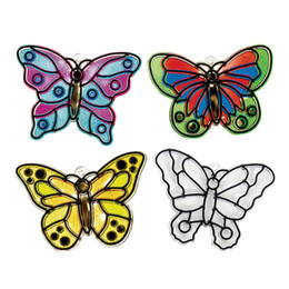 Wholesale Draw Funny - Wholesale-Free Shipping 48pcs lot DIY Unfinished Plastic Butterfly Sun Catchers Craft Kit Funny Drawing Toys For Kids