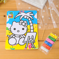 Wholesale-30sets / lot 15 * 21 cm fai da te Kids Color Sand Art Painting Kit Carta Disegnare con 6 colori di sabbia prescolare giocattoli educativi all'ingrosso