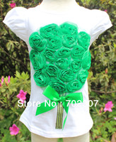 Wholesale B2w2 Girl - Wholesale-Wholesale 2015 new design B2W2 girls white t shirt with green floral baby girls clothing 5pcs lot CA01