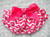 Großhandels-Neue Art-Baby-Chevron Satin Bloomers Little Girls Rufflea Shorts mit Band-Bogen-Kinder-Windel-Abdeckungen Hosen 6pcs / lot