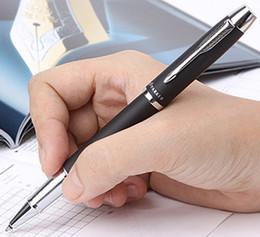 Wholesale Silver Parker Pens - Wholesale-Stationery office supplies IM parker ballpoint pen school supplies black frost silver clip parker pen roller pen cute