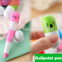 Wholesale Pill Pens - Wholesale-5pcs lot lovely kawaii pill ballpoint pen Cute learning stationery Student prize vitamin pill novelty ballpen free shipping