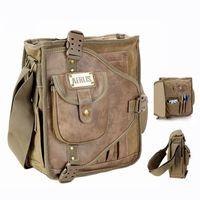 Wholesale Canvas Messenger Bags College - Wholesale-Designer pocket college student shoulder book bags bolsas Canvas and leather messenger bag for school boys 4505 Free shipping