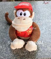 "Wholesale Diddy Plush - Wholesale-10pcs lot Free Shipping Super Mario Bros Diddy Kong Plush Toys Stuffed Dolls Kids Toys 8""20cm SMPD097"