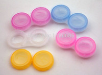 Wholesale Cheap Contact Lens Cases - Wholesale-20pcs Mixed Color Transparent Contact Lens Case Wholesale Cheap Sale Lense Box Color