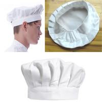 Wholesale Bbq Hat - Wholesale-Free Shipping Kitchen BBQ Cooking Baking Party Costume Cap White Adult Elastic Chef Hat