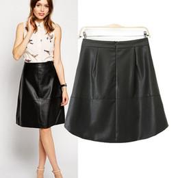 Wholesale Mid Waist Shorts Pu - Wholesale-Newest 2015 Fashion Black PU Leather Skirt Women Slim High Waist A Shape Skirt Female Short Skirts S M L OL16328
