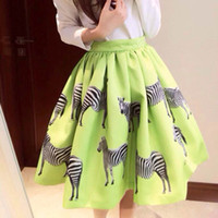Wholesale Horse Print Skirt - Wholesale-2015 New Spring&Summer Fashion Skirts Women's Saias Animal Horse Zebra Print Skirt High Waist Ball Gown Midi Skater Skirt