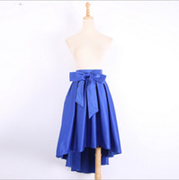 Wholesale Tall Shortest Skirt - Wholesale-New Design! Women Bowknot Irregular Casual Long Skirt Female Tall Elastic Waist Before long after short Fashion Skirts 5 Colors
