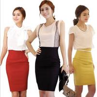 Wholesale High Waist Fitted Business Skirts - Wholesale-2015 Elegant Womens Fitted Business Knee Long Slimming High Waist Pencil OL Knee-Length Skirt
