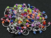 Wholesale Acrylic Cbr - Wholesale-cbr circurlar ring horseshoe mix colors 100pcs body piercing jewelry stainless steel septum acrylic 3mm cone spike wholesale