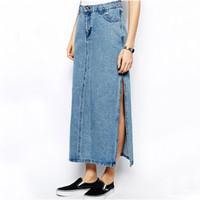 Wholesale Long Female Jeans Skirts - Wholesale-2015 Spring Summer New Designer Female Fashion Casual Denim Maxi Long Skirt Split Pencil Jeans Skirts For Women Girls B77901