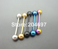 Vente en gros-10pcs 1.6 * 19 * 6 / 6mm Titanium anodisé en acier inoxydable Boules Straight Barbell Tongue Rings Ear Tragus Body Piercing Jewelry