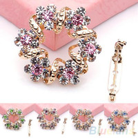 Wholesale Korean Clip Brooches - Wholesale-Fashion Korean Brooch Jewelry Luxury Rhinestone Garland Scarf Clip Brooches Pin up 03R3