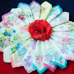 Wholesale Full Craft - Wholesale-New Lot 30 Pieces Cutter Ladies Craft Vintage Hanky Floral Handkerchief Free Shipping