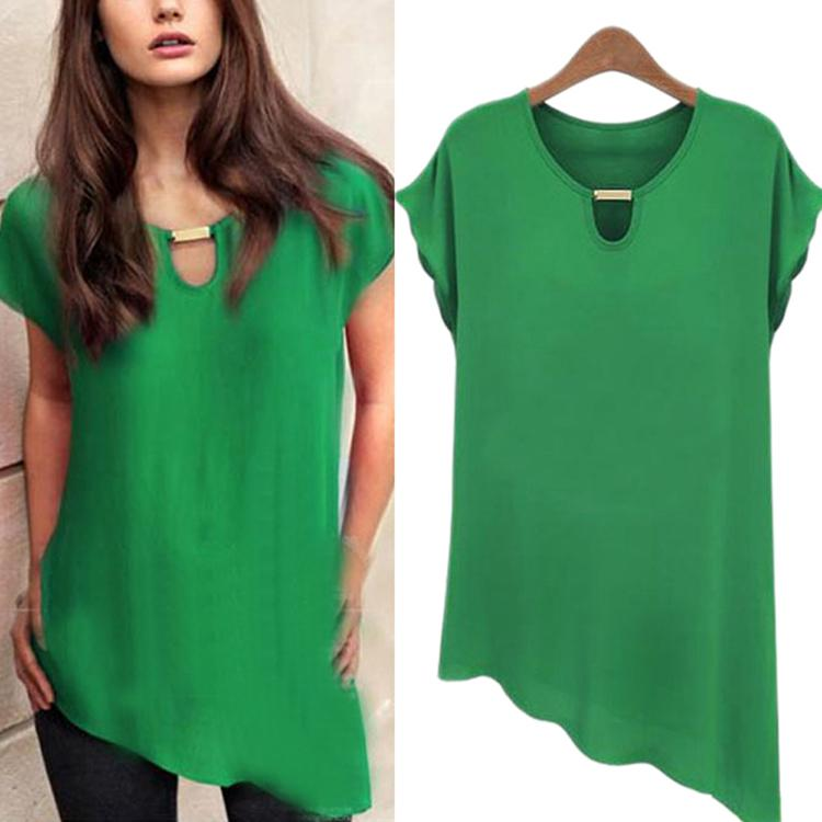 7a6f834ddd3 Wholesale-New Women s Tops Chiffon Shirts Solid Casual Summer ...