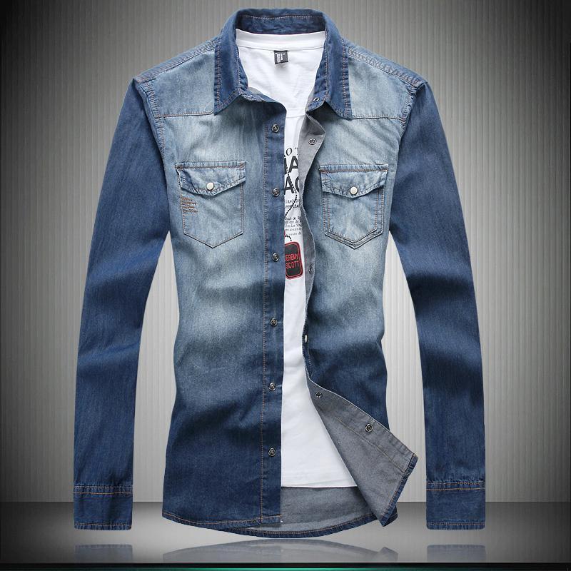 2018 Wholesale Men Denim Shirt Long Sleeve Plus Size 6xl Men Shirt ...
