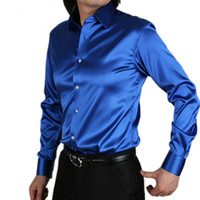 Wholesale Mens Satin Casual Shirts - Wholesale-Mens Fashion silk Designer shining loose Dress man Shirts Tops Western Casual 20 color M - XXXL