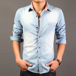 Wholesale New Release Dress - Wholesale-The new release of 2015 male fashion denim long sleeve dress shirt men's casual denim shirt men
