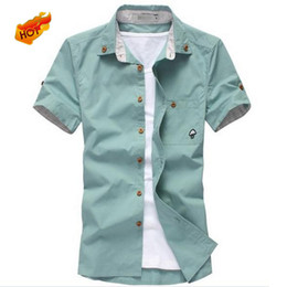 Wholesale mushrooms men - Wholesale- Free Shipping New Men's Spring and Summer Short-Sleeved Shirt Men Mushroom Fashion Boutique 10 Colors Size:M-XXXL 15A82