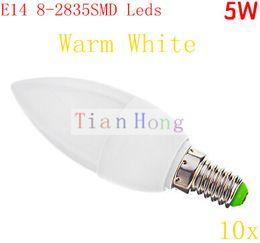 Wholesale Cree Night Light - Wholesale-MINI order 10pcs 5W LED Candle light E14 E27 led lamp 8SMD 2835 AC110-240V Warm White CE&ROHS Ivory Night Light Candle