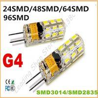 Wholesale 12v Ac Bulb Edison Led - Wholesale-10PCS New G4 24 48 64 96SMD 2835 3014 LED Light Bulb Lamp AC DC 12V 220Vled Spotlight Silicone dimmable chandelier lamp CE ROHS