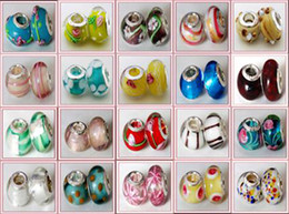 Wholesale Jewelry Findings For Bracelets - 500 Pcs Mix 925 Sterling Silver Murano Lampwork Glass Charm Bead Big Hole Loose Beads Fits For Pandora Charm Bracelet DIY Jewelry Finding