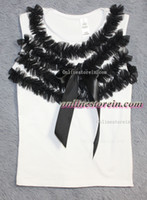 Wholesale Petti Shirts - Wholesale-Baby Girl petti top WHITE cotton T shirt ruffles chiffon ribbon girls tshirt sleeveless