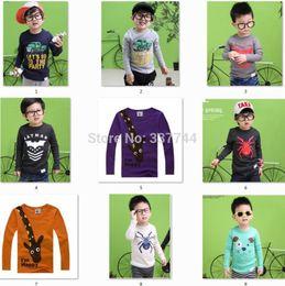 Wholesale Nova Kid Long Sleeve Boy - Wholesale-New 2015 boys baby girls nova kids T-shirts, cotton long sleeve children t shirts cute animal candy color cartoon t-shirt