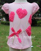 Wholesale B2w2 Girl - Wholesale-B2W2 girls summer flower pattern pink with hot pink short sleeve t shirt 5pcs lot CA05