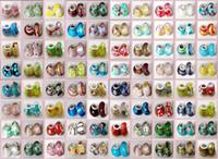 pulseiras de couro encantos europeu venda por atacado-100 Pcs Mista 925 Sterling Silver Lampwork Artesanal Murano Charme Contas De Vidro Para Pandora Pulseira Jóias Europeus + 1 pulseira De Couro presente