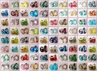 925 silbernes pandora murano glas großhandel-100 Stück Mixed 925 Sterling Silber Handgefertigte Lampwork Murano Glas Charm Beads Für Pandora Europäischen Schmuck Armband + 1 Lederarmband geschenk