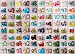 Wholesale Pandora Mixed Glass Beads - 100 Pcs Mixed 925 Sterling Silver Handmade Lampwork Murano Glass Charm Beads For Pandora European Jewelry Bracelet+ 1 Leather bracelet gift